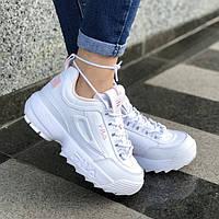 Женские кроссовки в стиле Fila Disruptor 2 White\Pink