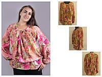 Блуза из легкого штапельного шифона с длинным рукавом, под юбку или брюки,  размер 52-54, код 1117М