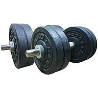 Гантели наборные гранилитовые 2х12 кг разборные (общий вес 24 кг) для дома домашние, фото 1