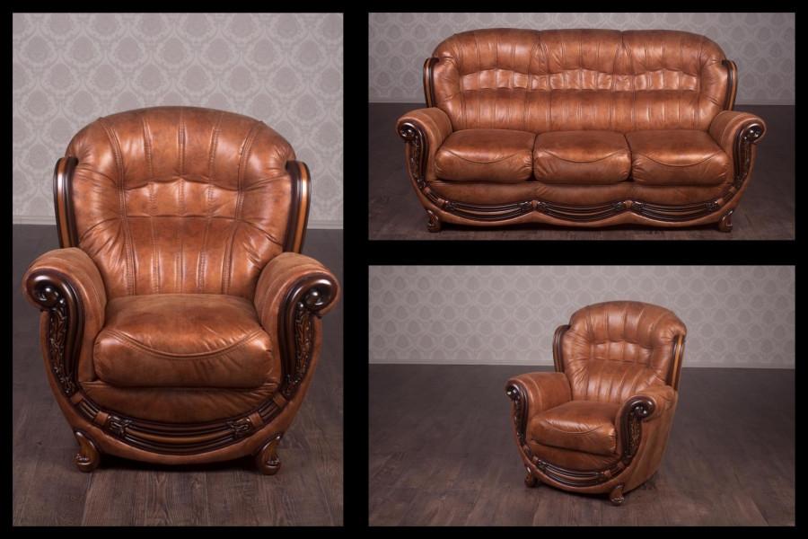 Комплект мягкой мебели Джове Бронза (кожа) Курьер