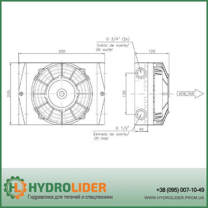 Маслоохладитель воздушный (теплообменник, радиатор, теплообменный агрегат) до 200 л/мин Bezares