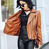 Женская кожаная куртка со змейками 42-48, фото 7