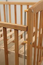 Кровать «AMELI» с подвижной боковиной с дугами и колесами (600 * 1200) Бук), фото 2