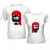 Парные футболки Коты в сердечках