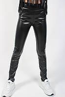Лосины детские черные экокожа №9104.3 для девочки (8-13 лет) с обманчивыми карманами