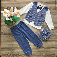 Детский нарядный костюм для мальчика с кепкой р 68-74; 74-80.