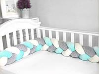 Бампер-косичка для детской кроватки 3-х прядная Twins (240 см) мята