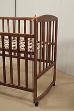 Кровать «AMELI» с подвижной боковиной с дугами и колесами (600 * 1200) (Венге), фото 2
