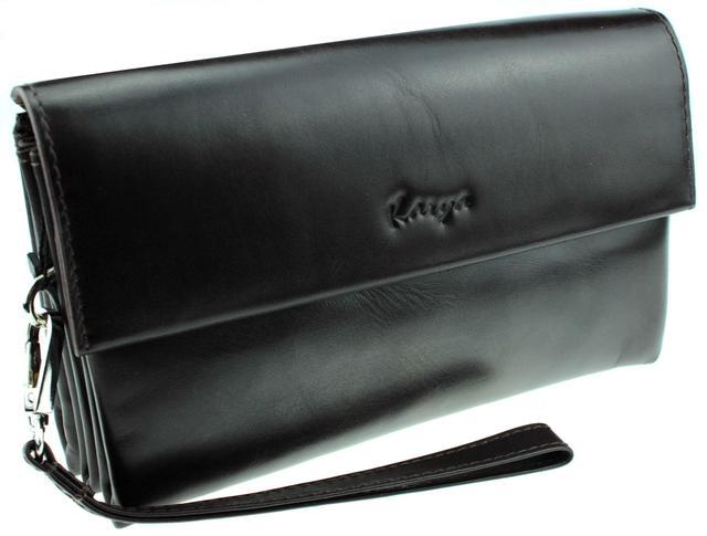 Мужская сумка барсетка Karya 0696-9 кожаная темно-коричневая