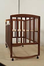 Кровать «AMELI» с подвижной боковиной с дугами и колесами (600 * 1200) (Венге), фото 3