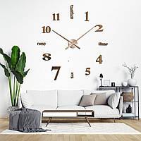 Оригинальные настенные 3D часы большого диаметра с надписями, цвет медь