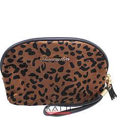 48130 косметичка клатч KATTi Animal шкура велюровая овальная 20х13см, фото 3