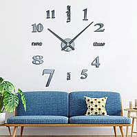 Оригинальные настенные 3D часы большого диаметра с надписями, темно-серые