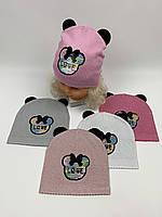 Детские демисезонные вязаные шапки для девочек оптом, р.46-48, ANPA (m98), фото 1