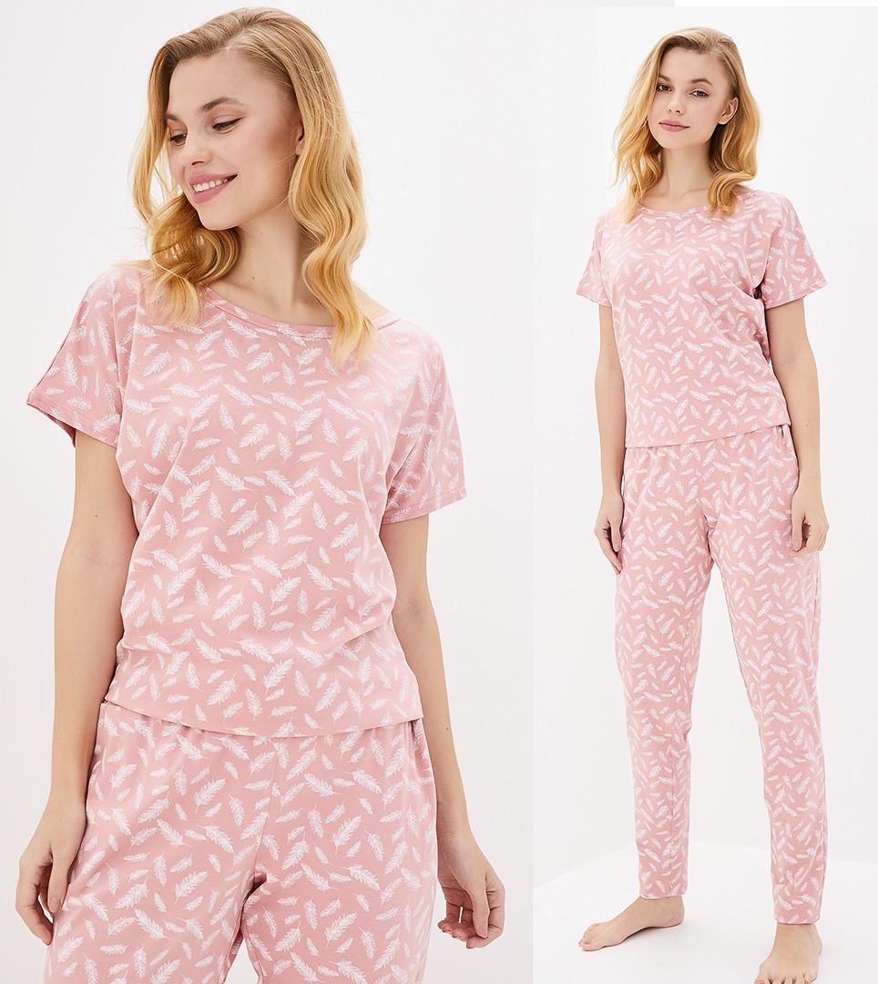 Пижама с брюками женская домашняя хлопковый комплект, синяя