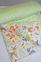 Детский плюшевый плед, в кроватку и коляску зверята в лесу