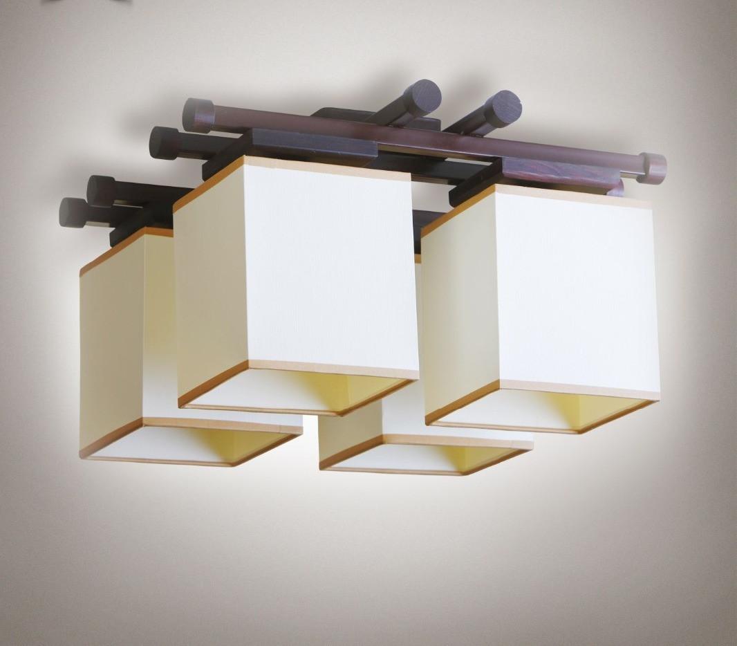 Люстра 4-х ламповая, металлическая, с деревом для небольшой комнаты 14907