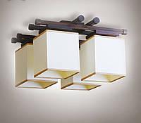 Люстра 4-х ламповая, металлическая, с деревом для небольшой комнаты