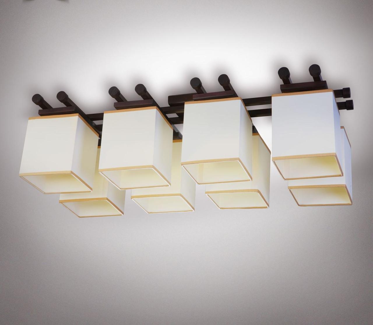 Люстра 8 ламповая, металлическая, с деревом для большой комнаты 14908