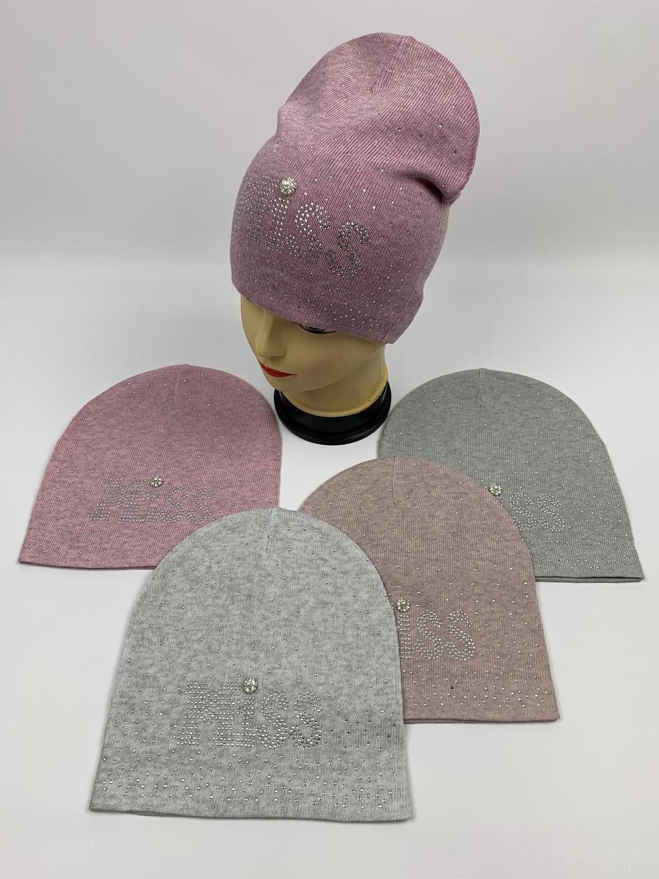 Детские демисезонные вязаные шапки для девочек оптом, р.50-52, ANPA (m62)