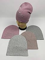Детские демисезонные вязаные шапки для девочек оптом, р.50-52, ANPA (m62), фото 1