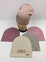 Детские демисезонные вязаные шапки для девочек оптом, р.50-52, ANPA (m46), фото 1