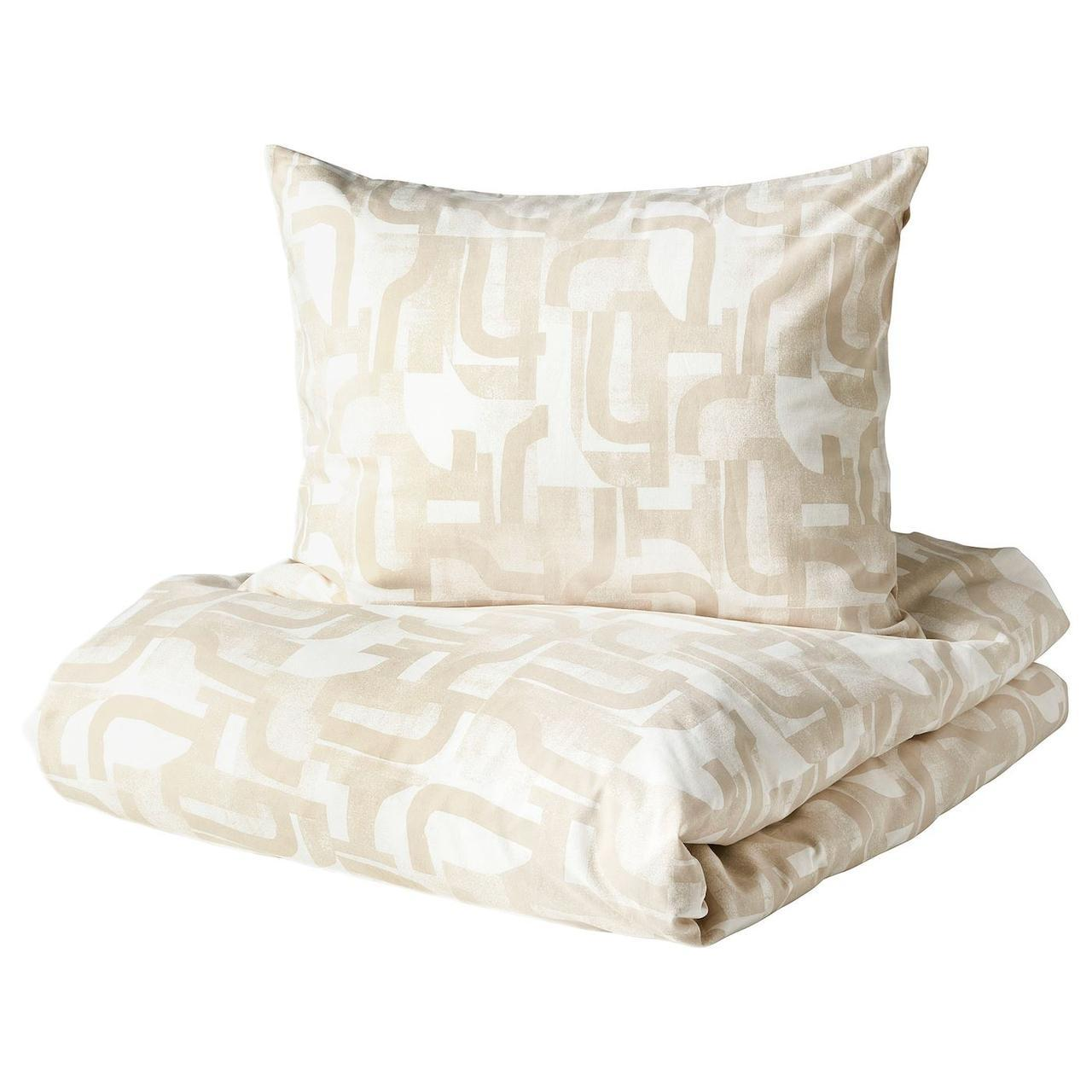 Комплект постельного белья IKEA VINTERJASMIN 150x200/50x60 см белый бежевый 804.428.53