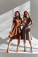 Платье женское замшевое, чёрный, серый, рыжий, пудра, хаки, марсала, фото 1