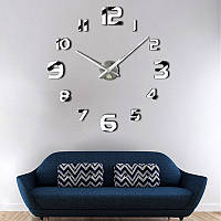 3D большие часы на стену 4227 Silver