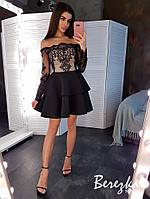 Элегантное женское платье с пышной юбочкой Размер: С и М Ткань: кружево + неопрен, фото 1