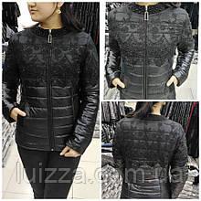 Куртка демисезон с гипюром EZE (Турция) 50 52 54 56 58 60 62 64 р