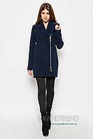 Женское демисезонное пальто из кашемира 8537 синее-42,46