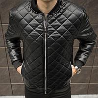 Куртка бомбер мужская кожаная черная весна-осень