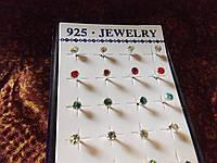 Замечательные серебряные серьги-пуссеты с кристаллами Сваровски
