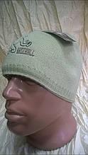 Оливковая  спортивная   шапка демисезонная