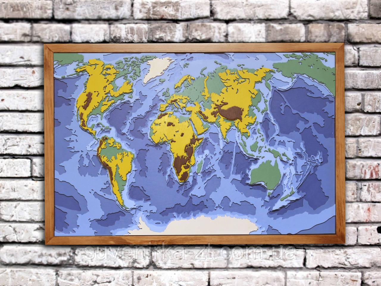 Деревянная карта мира (А01201)