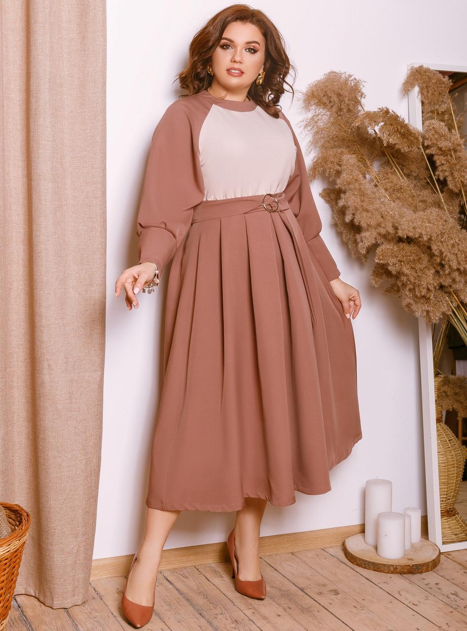 Элегантное батальное платье длины миди