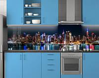 Пластиковый кухонный фартук ПВХ Ночные огни отражение, стеновые панели пластик скинали фотопечать, Город синий