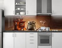 Пластиковый кухонный фартук ПВХ Мешок кофе, Стеновая панель с фотопечатью, кофейная тематика, коричневый
