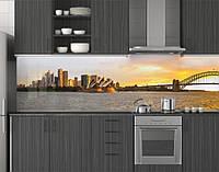 Пластиковый кухонный фартук ПВХ Мост-дуга на рассвете, стеновые панели пластик скинали фотопечать для кухни