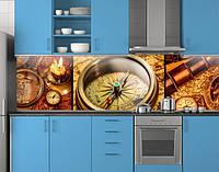Пластиковый кухонный фартук ПВХ Компас Подзорная труба, Самоклеящаяся стеновая панель для кухни, коричневый