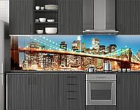 Пластиковый кухонный фартук ПВХ Бирюзовые огни города, Стеновая панель для кухни с фотопечатью, Мосты