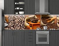 Пластиковый кухонный фартук ПВХ Кофейные зерна кофе, панель для кухни с фотопечатью, скинали, коричневая