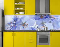 Пластиковый кухонный фартук ПВХ Синие цветы вишни, стеновые панели пластик скинали фотопечать, голубой