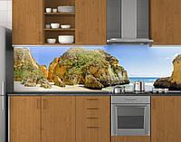 Пластиковый кухонный фартук ПВХ Камни на пляже, Стеновая панель для кухни с фотопечатью, Море, бежевый