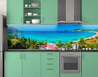 Пластиковый кухонный фартук ПВХ Бирюзовая бухта и пальмы, стеновые панели пластик скинали фотоп, Море, голубой