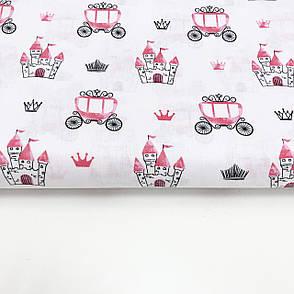 """Польская хлопковая ткань """"Замки, кареты розовые на белом"""", фото 2"""