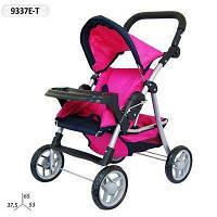 Коляска 9337E-T Hot Pink розовая с темно синим, Melogoлетняя, съемное кресло, столик и корзина,