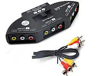 Сплиттер (переключатель) AV / RCA 3 канала на 1 AV , тюльпаны плюс звук, фото 1