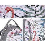 Модний маленький рюкзак жіночий міський. Рюкзак жіночий з фламінго DAVID JONES (сірий), фото 6